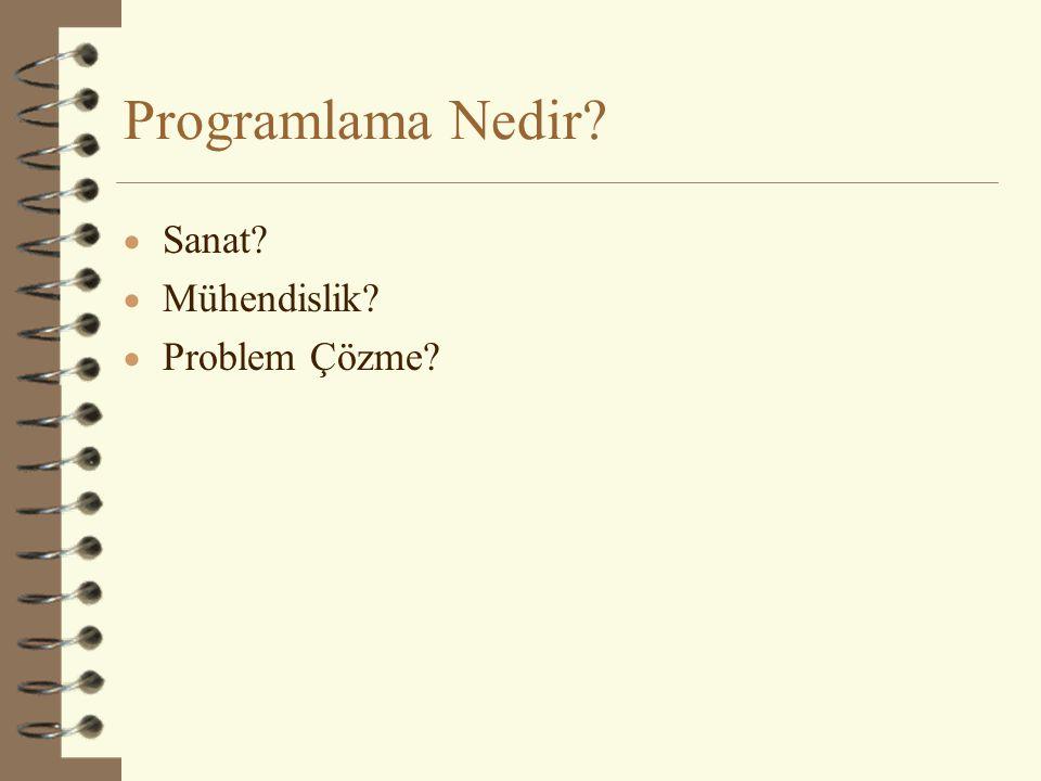 Programlama Nedir?  Sanat?  Mühendislik?  Problem Çözme?