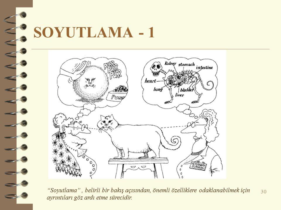 SOYUTLAMA - 1 30 Soyutlama , belirli bir bakış açısından, önemli özelliklere odaklanabilmek için ayrıntıları göz ardı etme sürecidir.