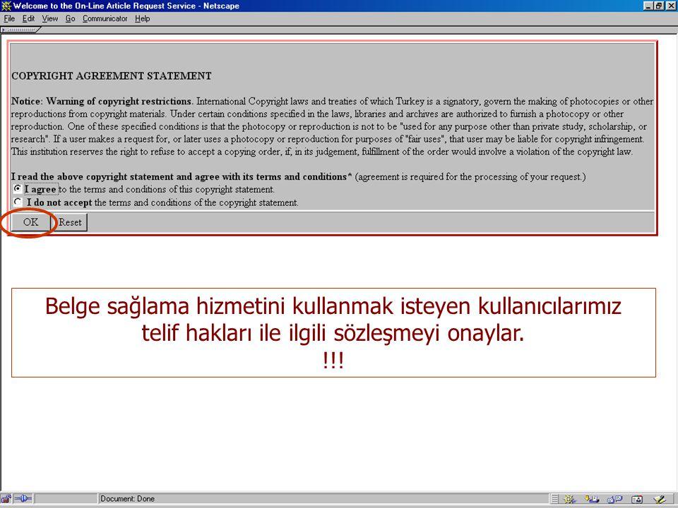 Belge sağlama hizmetini kullanmak isteyen kullanıcılarımız telif hakları ile ilgili sözleşmeyi onaylar. !!!