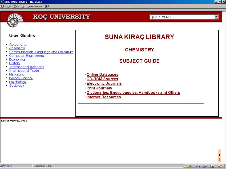 SUNA KIRAÇ LIBRARY CHEMISTRY SUBJECT GUIDE Online Databases CD-ROM Sources Electronic Journals Print Journals Dictionaries, Encyclopedias, Handbooks a