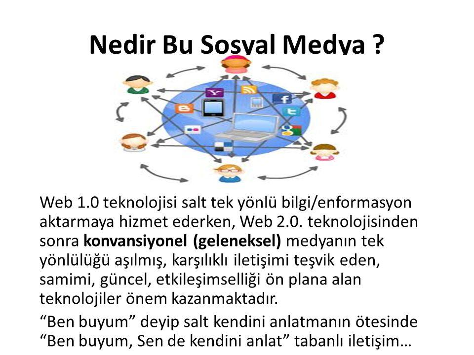 Nedir Bu Sosyal Medya ? Web 1.0 teknolojisi salt tek yönlü bilgi/enformasyon aktarmaya hizmet ederken, Web 2.0. teknolojisinden sonra konvansiyonel (g