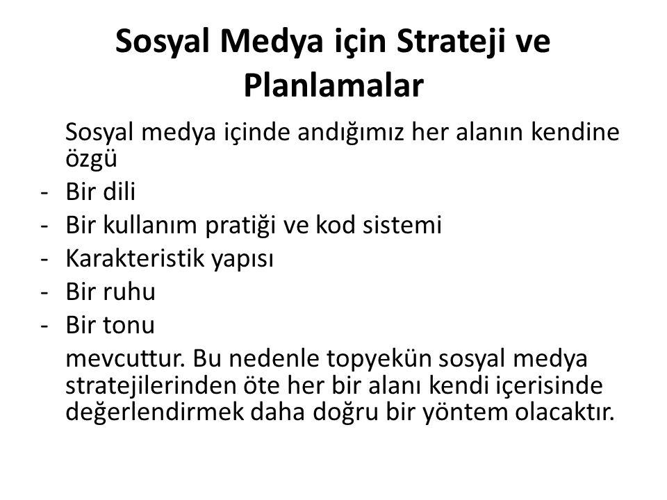 Sosyal Medya için Strateji ve Planlamalar Sosyal medya içinde andığımız her alanın kendine özgü -Bir dili -Bir kullanım pratiği ve kod sistemi -Karakt