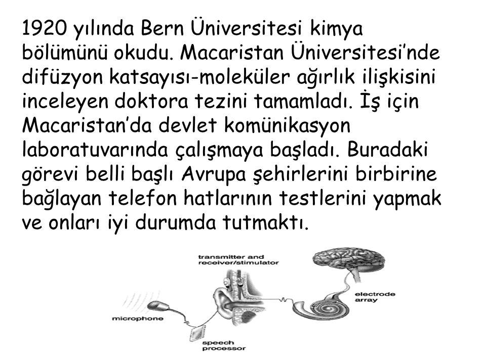 1920 yılında Bern Üniversitesi kimya bölümünü okudu.