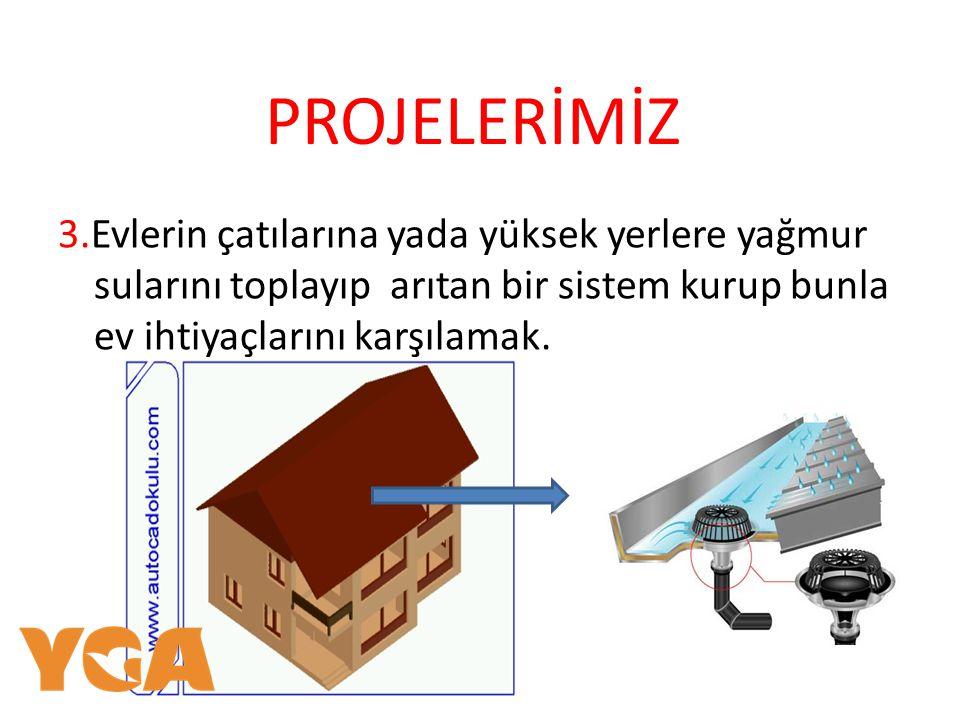 PROJELERİMİZ 3.Evlerin çatılarına yada yüksek yerlere yağmur sularını toplayıp arıtan bir sistem kurup bunla ev ihtiyaçlarını karşılamak.