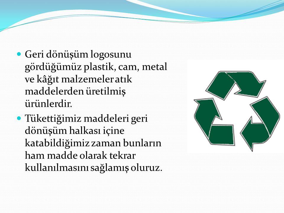 Geri dönüşüm logosunu gördüğümüz plastik, cam, metal ve kâğıt malzemeler atık maddelerden üretilmiş ürünlerdir. Tükettiğimiz maddeleri geri dönüşüm ha