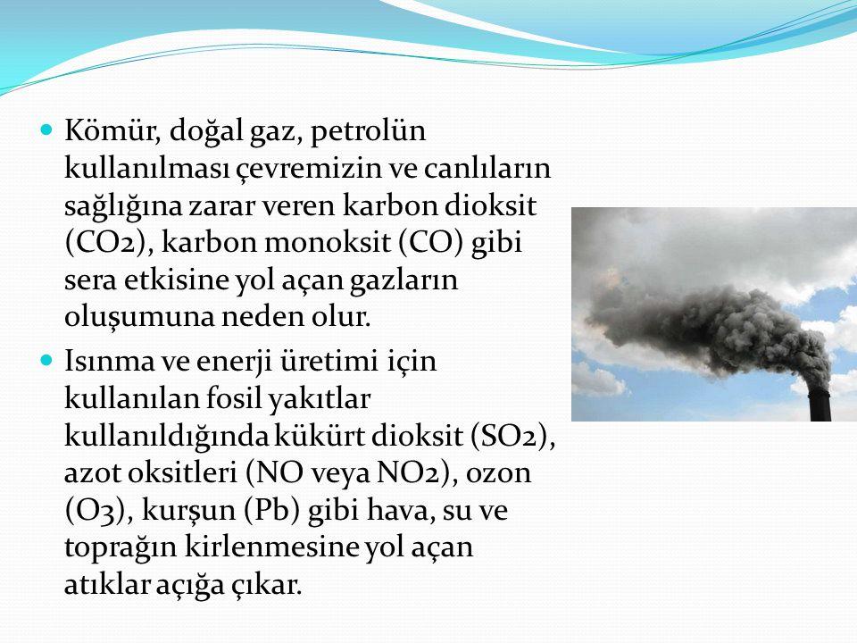 Kömür, doğal gaz, petrolün kullanılması çevremizin ve canlıların sağlığına zarar veren karbon dioksit (CO2), karbon monoksit (CO) gibi sera etkisine yol açan gazların oluşumuna neden olur.
