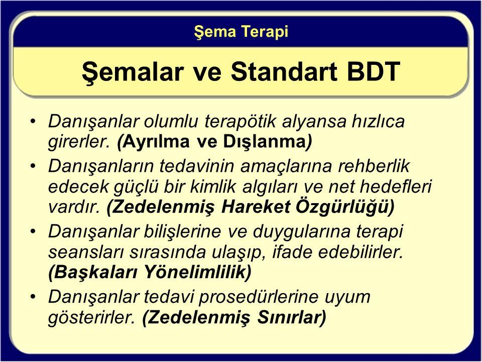 Şemalar ve Standart BDT Danışanlar olumlu terapötik alyansa hızlıca girerler.
