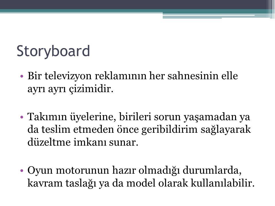 Storyboard Bir televizyon reklamının her sahnesinin elle ayrı ayrı çizimidir.