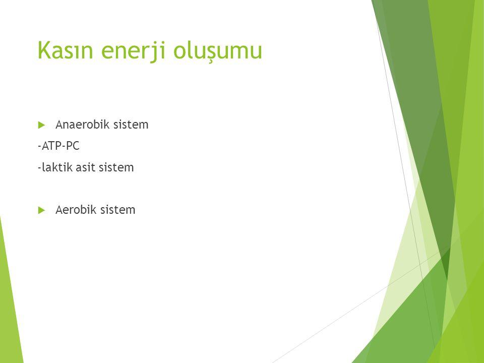 Kasın enerji oluşumu  Anaerobik sistem -ATP-PC -laktik asit sistem  Aerobik sistem