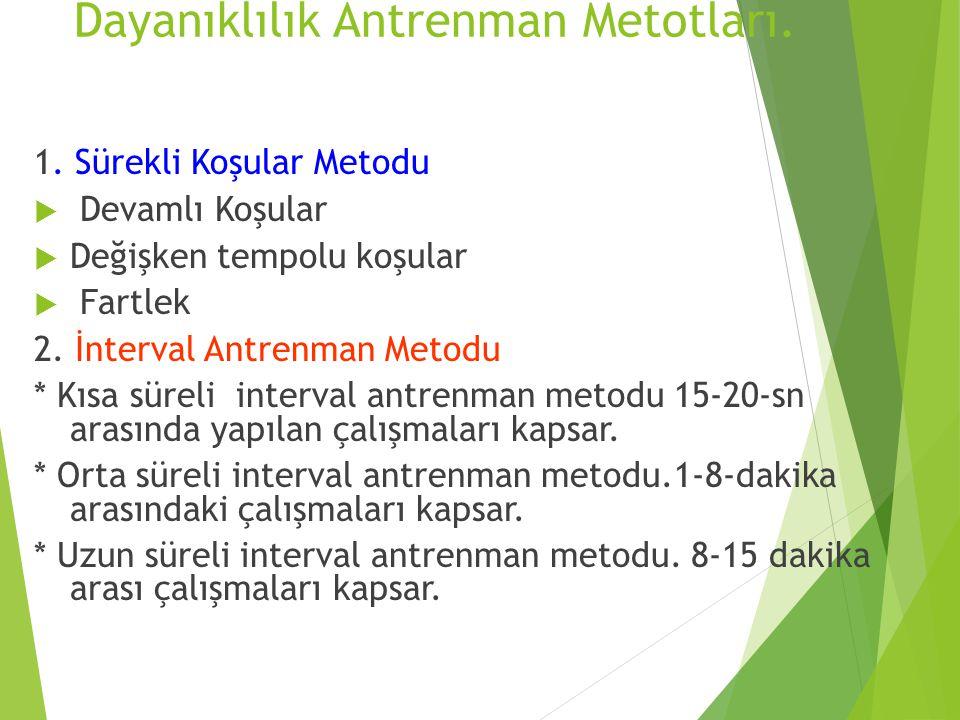 Dayanıklılık Antrenman Metotları. 1. Sürekli Koşular Metodu  Devamlı Koşular  Değişken tempolu koşular  Fartlek 2. İnterval Antrenman Metodu * Kısa