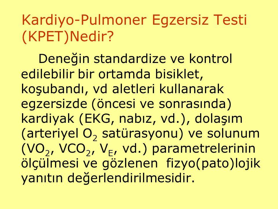 Kardiyo-Pulmoner Egzersiz Testi (KPET)Nedir? Deneğin standardize ve kontrol edilebilir bir ortamda bisiklet, koşubandı, vd aletleri kullanarak egzersi