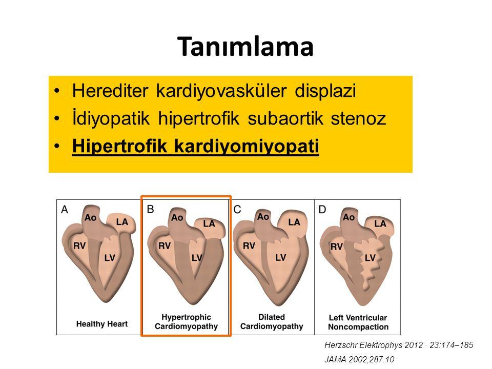 Tanımlama Herediter kardiyovasküler displazi İdiyopatik hipertrofik subaortik stenoz Hipertrofik kardiyomiyopati Herzschr Elektrophys 2012 ∙ 23:174–18