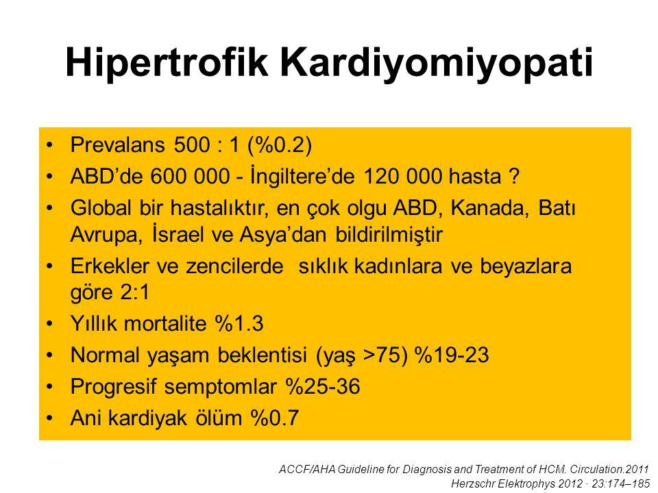 Hipertrofik Kardiyomiyopati Prevalans 500 : 1 (%0.2) ABD'de 600 000 - İngiltere'de 120 000 hasta ? Global bir hastalıktır, en çok olgu ABD, Kanada, Ba