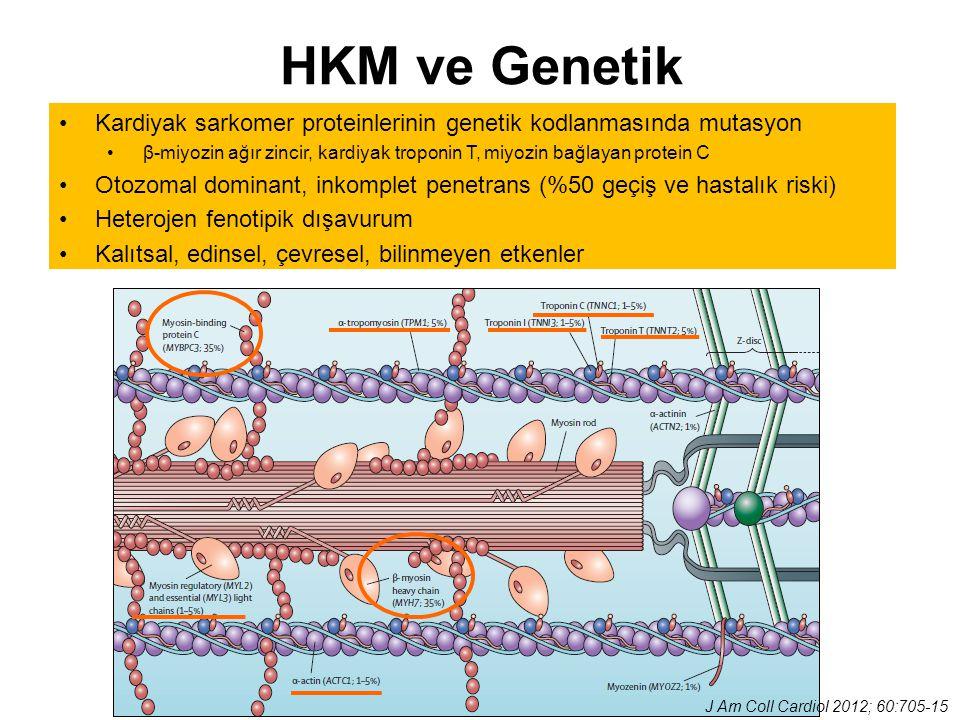 HKM ve Genetik Kardiyak sarkomer proteinlerinin genetik kodlanmasında mutasyon β-miyozin ağır zincir, kardiyak troponin T, miyozin bağlayan protein C
