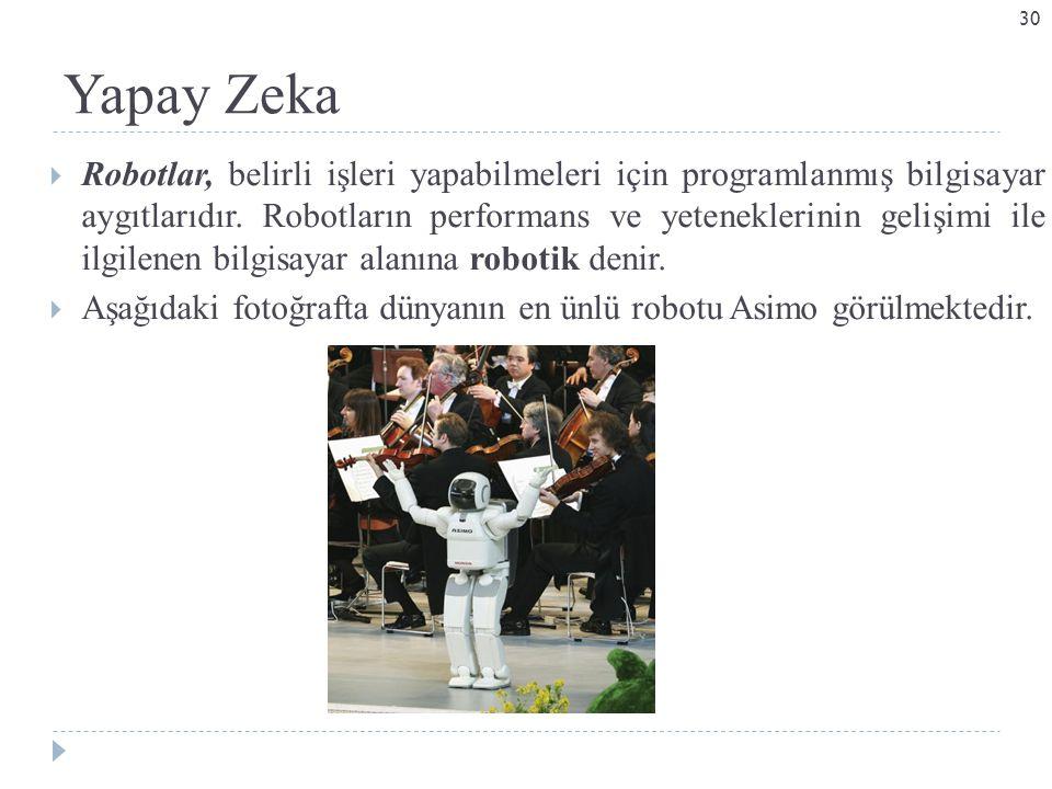 Yapay Zeka  Robotlar, belirli işleri yapabilmeleri için programlanmış bilgisayar aygıtlarıdır. Robotların performans ve yeteneklerinin gelişimi ile i