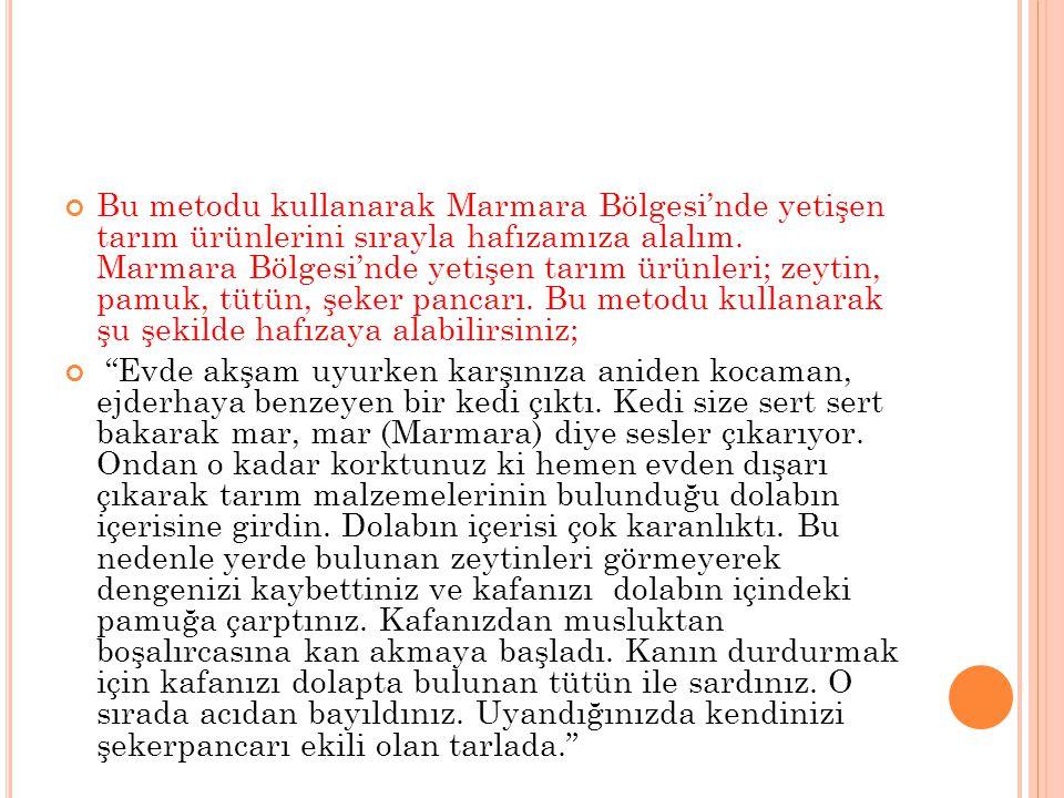 Bu metodu kullanarak Marmara Bölgesi'nde yetişen tarım ürünlerini sırayla hafızamıza alalım. Marmara Bölgesi'nde yetişen tarım ürünleri; zeytin, pamuk