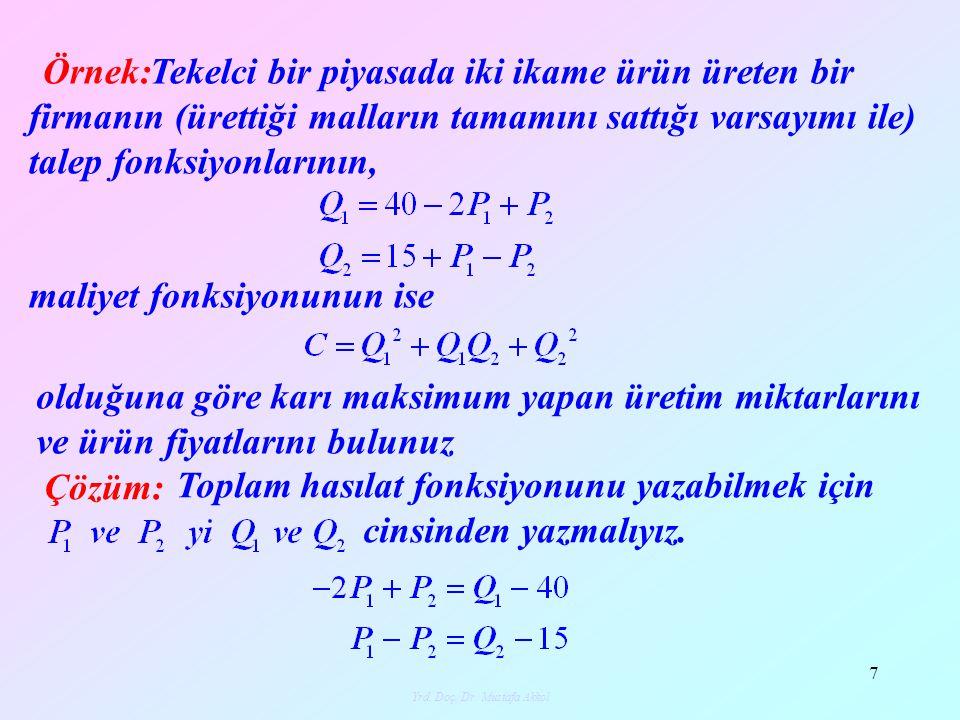 Yrd. Doç. Dr. Mustafa Akkol 8 olur. Buna bağlı olarak toplam hasılat fonksiyonu olur.