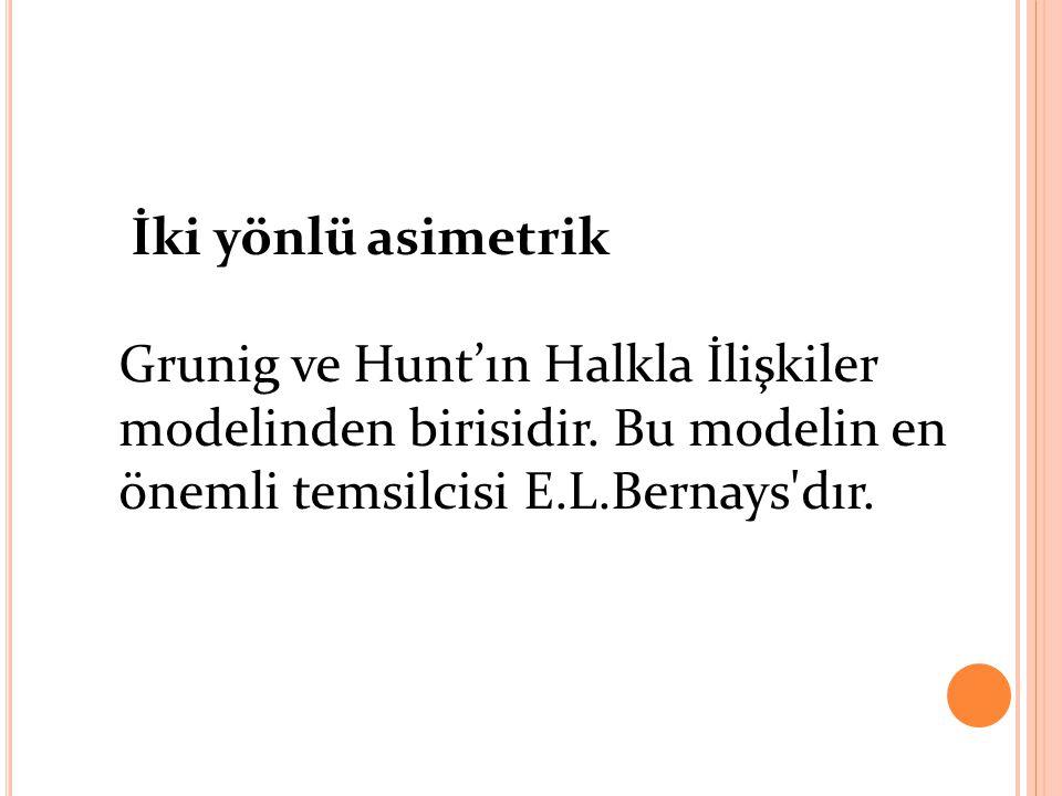İki yönlü asimetrik Grunig ve Hunt'ın Halkla İlişkiler modelinden birisidir. Bu modelin en önemli temsilcisi E.L.Bernays'dır.