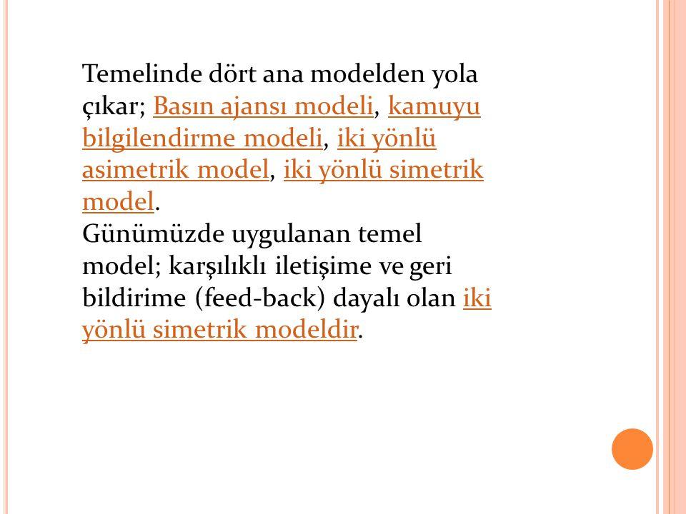 Temelinde dört ana modelden yola çıkar; Basın ajansı modeli, kamuyu bilgilendirme modeli, iki yönlü asimetrik model, iki yönlü simetrik model.Basın aj