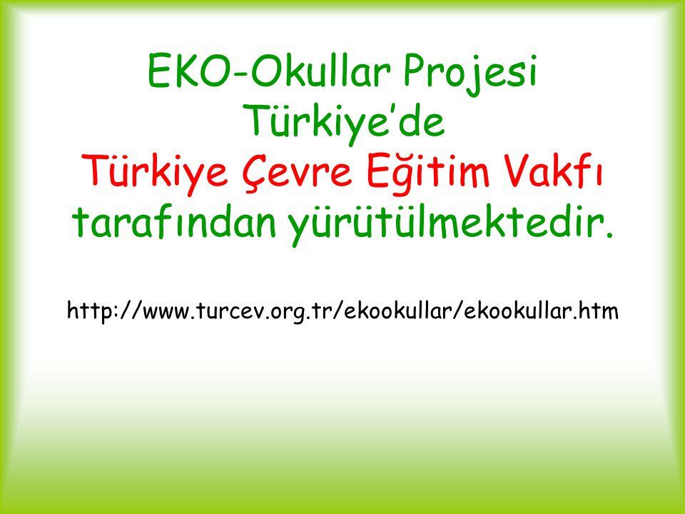 EKO-Okullar Projesi Türkiye'de Türkiye Çevre Eğitim Vakfı tarafından yürütülmektedir. http://www.turcev.org.tr/ekookullar/ekookullar.htm