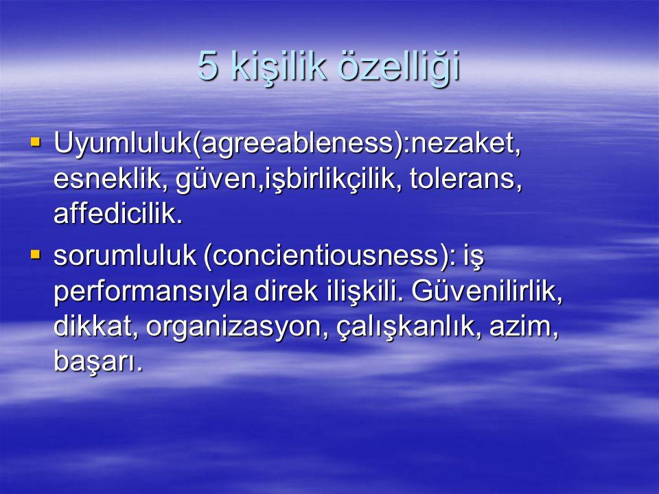 5 kişilik özelliği  Uyumluluk(agreeableness):nezaket, esneklik, güven,işbirlikçilik, tolerans, affedicilik.  sorumluluk (concientiousness): iş perfo