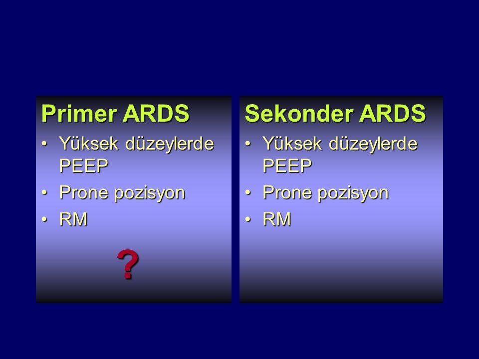 Primer ARDS Yüksek düzeylerde PEEPYüksek düzeylerde PEEP Prone pozisyonProne pozisyon RMRM ? Sekonder ARDS Yüksek düzeylerde PEEPYüksek düzeylerde PEE