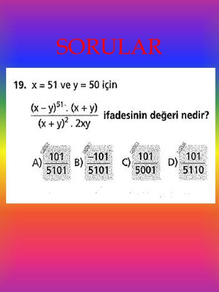   Cebirsel ifadeler, sayısal ifadelerin başka bir gösterimi olduğundan çarpma işleminin toplama ve çıkarma işlemi üzerine dağılma özelliği uygulanır.