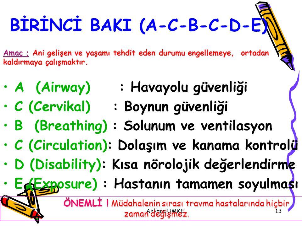 Ankara UMKE13 BİRİNCİ BAKI (A-C-B-C-D-E) A (Airway) : Havayolu güvenliği C (Cervikal) : Boynun güvenliği B (Breathing) : Solunum ve ventilasyon C (Cir
