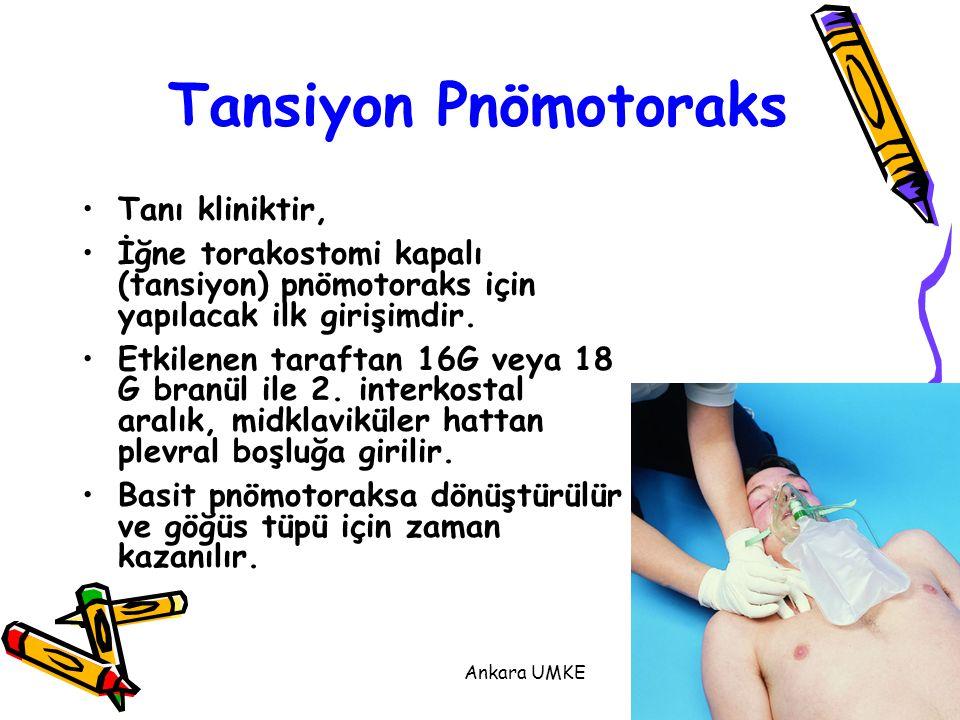 Ankara UMKE25 Tanı kliniktir, İğne torakostomi kapalı (tansiyon) pnömotoraks için yapılacak ilk girişimdir. Etkilenen taraftan 16G veya 18 G branül il