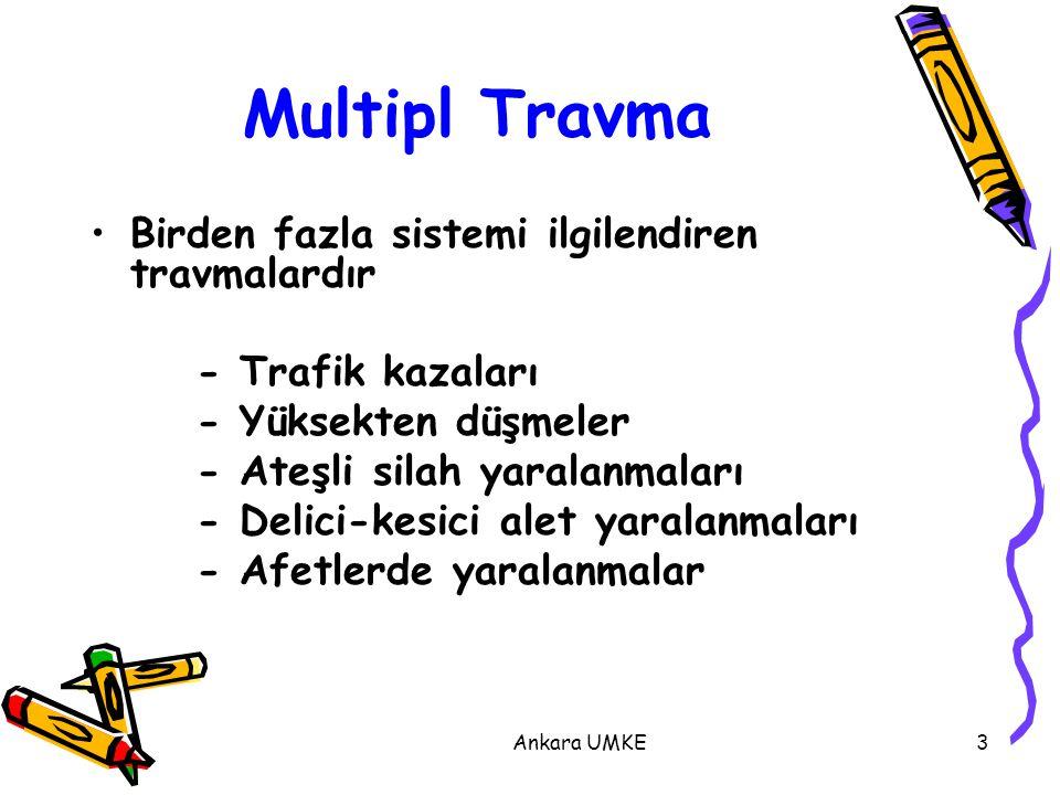 Ankara UMKE3 Multipl Travma Birden fazla sistemi ilgilendiren travmalardır - Trafik kazaları - Yüksekten düşmeler - Ateşli silah yaralanmaları - Delic