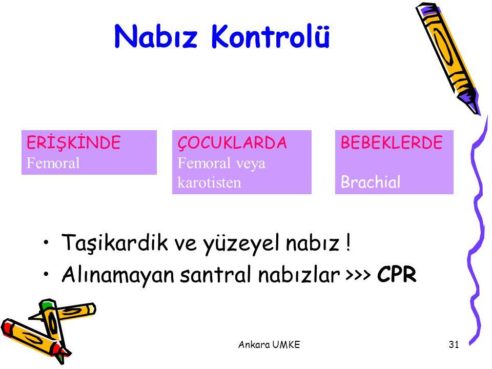 Ankara UMKE31 Nabız Kontrolü Taşikardik ve yüzeyel nabız ! Alınamayan santral nabızlar >>> CPR ERİŞKİNDE Femoral ÇOCUKLARDA Femoral veya karotisten BE