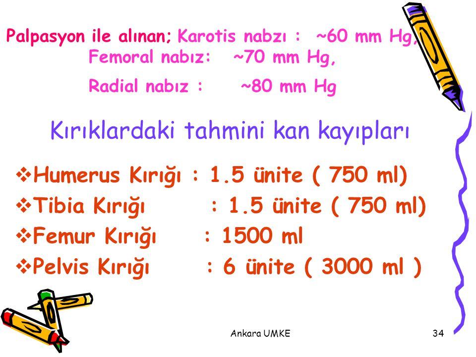 Ankara UMKE34  Humerus Kırığı : 1.5 ünite ( 750 ml)  Tibia Kırığı : 1.5 ünite ( 750 ml)  Femur Kırığı : 1500 ml  Pelvis Kırığı : 6 ünite ( 3000 ml
