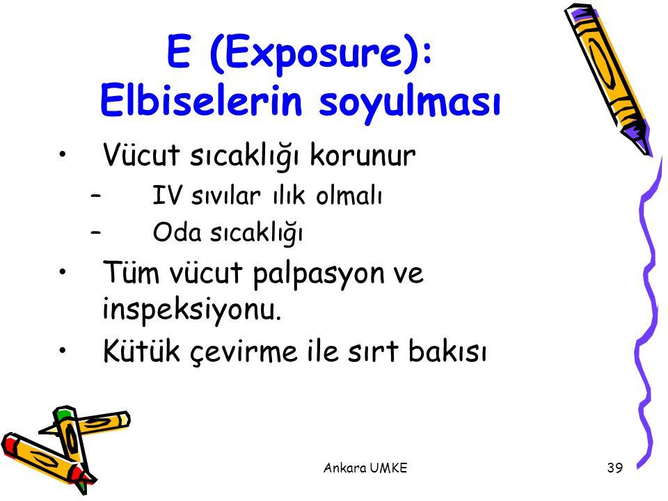 Ankara UMKE39 E (Exposure): Elbiselerin soyulması Vücut sıcaklığı korunur – IV sıvılar ılık olmalı – Oda sıcaklığı Tüm vücut palpasyon ve inspeksiyonu