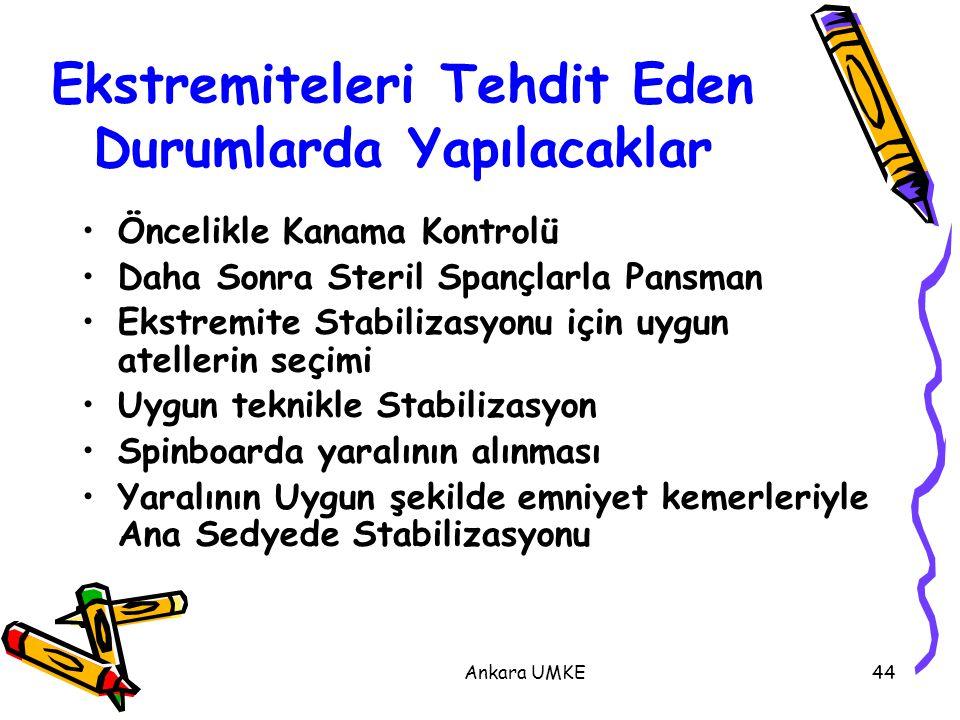 Ankara UMKE44 Ekstremiteleri Tehdit Eden Durumlarda Yapılacaklar Öncelikle Kanama Kontrolü Daha Sonra Steril Spançlarla Pansman Ekstremite Stabilizasy