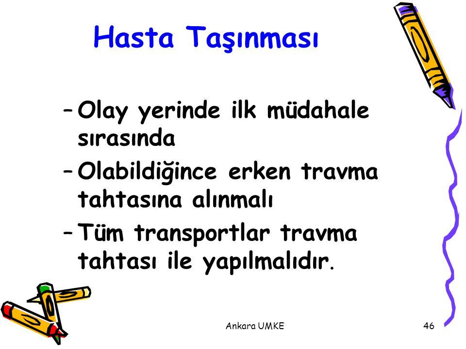Ankara UMKE46 –Olay yerinde ilk müdahale sırasında –Olabildiğince erken travma tahtasına alınmalı –Tüm transportlar travma tahtası ile yapılmalıdır. H