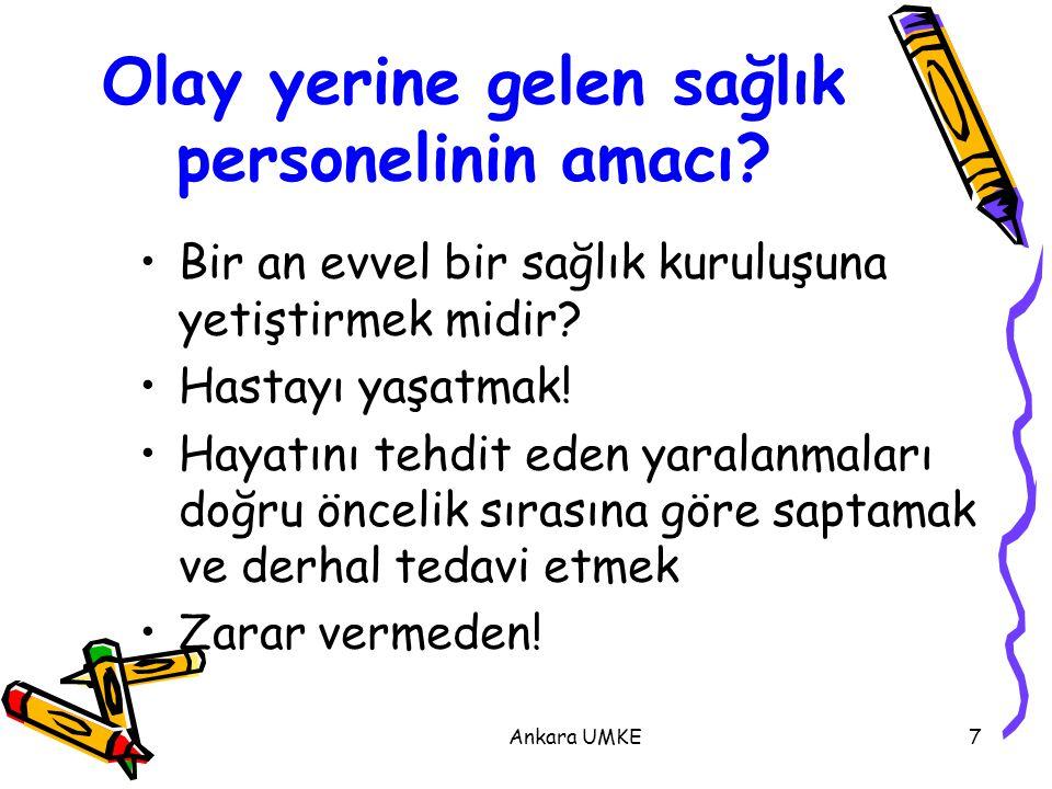 Ankara UMKE48 Hastanın Götürüleceği Acil Servise Hasta Hakkında Telsiz ile Bilgi Verilmelidir  Havayolunun durumu  Solunum ve nabız  Bilinç durumu  İmmobilizasyon  Yaralanmanın mekanizması ve olay yerindeki kan kaybı miktarı  Görünen yaralanmaların anatomik yeri