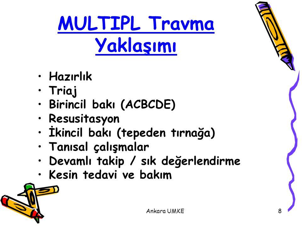 Ankara UMKE8 MULTIPL Travma Yaklaşımı Hazırlık Triaj Birincil bakı (ACBCDE) Resusitasyon İkincil bakı (tepeden tırnağa) Tanısal çalışmalar Devamlı tak