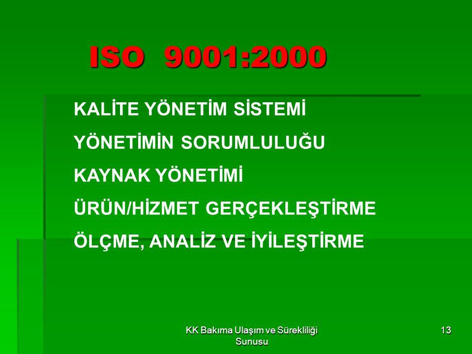 KK Bakıma Ulaşım ve Sürekliliği Sunusu 12 ISO9001:1994, ISO 9002:1994 ve ISO9003:1994 STANDARDLARI ISO 9001:2000 OLARAK TEK STANDART HALİNE GETİRİLMİŞ