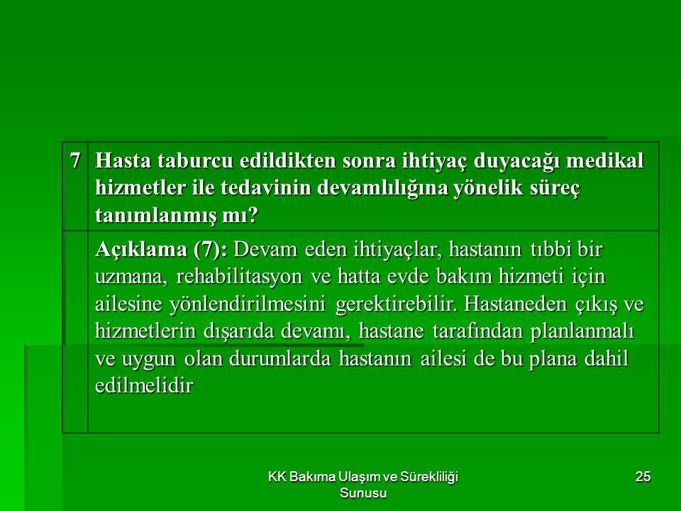 KK Bakıma Ulaşım ve Sürekliliği Sunusu 24 6 Taburcu etme için tanımlanmış bir süreç var mı? Açıklama (6): Hastanın taburcu edilmeye hazır olduğuna dok