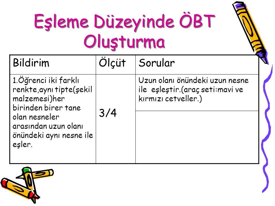 Eşleme Düzeyinde ÖBT Oluşturma BildirimÖlçütSorular 1.Öğrenci iki farklı renkte,aynı tipte(şekil malzemesi)her birinden birer tane olan nesneler arası