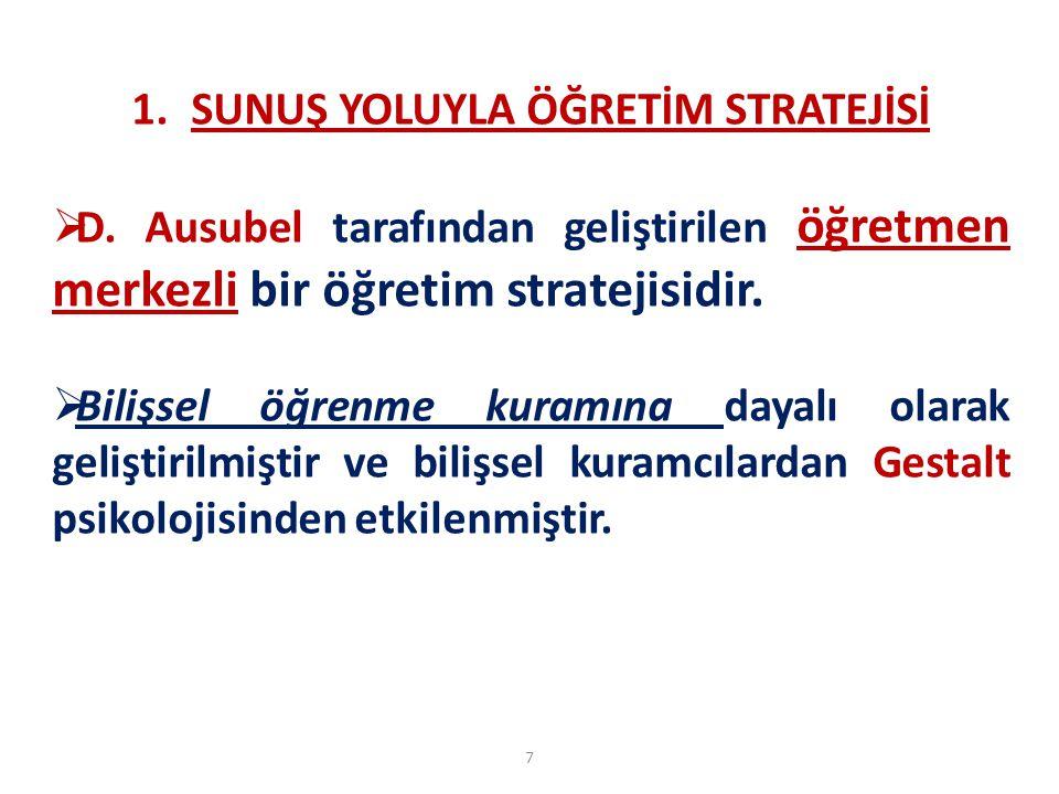 7 1.SUNUŞ YOLUYLA ÖĞRETİM STRATEJİSİ  D. Ausubel tarafından geliştirilen öğretmen merkezli bir öğretim stratejisidir.  Bilişsel öğrenme kuramına day