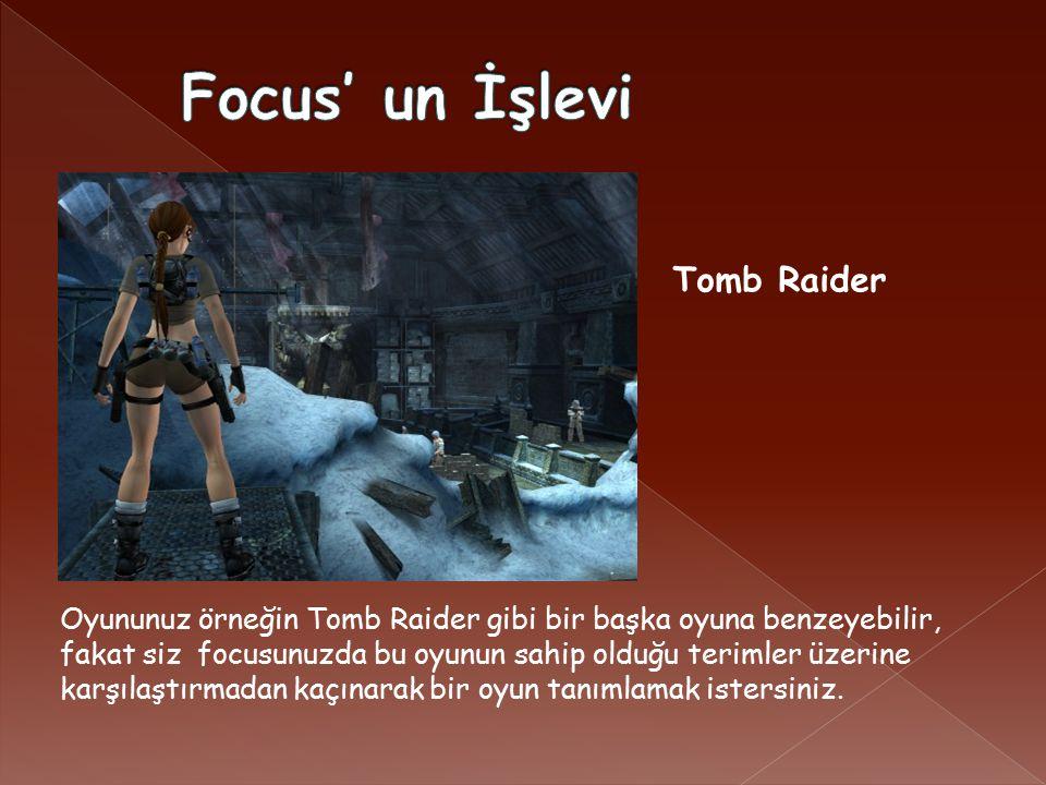 Oyununuz örneğin Tomb Raider gibi bir başka oyuna benzeyebilir, fakat siz focusunuzda bu oyunun sahip olduğu terimler üzerine karşılaştırmadan kaçınarak bir oyun tanımlamak istersiniz.