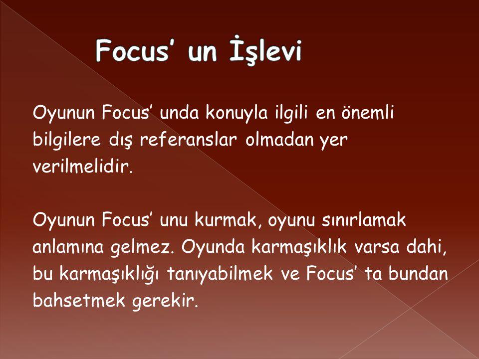 Oyunun Focus' unda konuyla ilgili en önemli bilgilere dış referanslar olmadan yer verilmelidir.