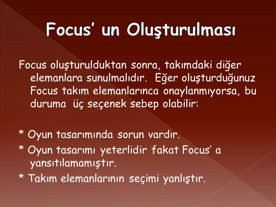 Focus oluşturulduktan sonra, takımdaki diğer elemanlara sunulmalıdır.