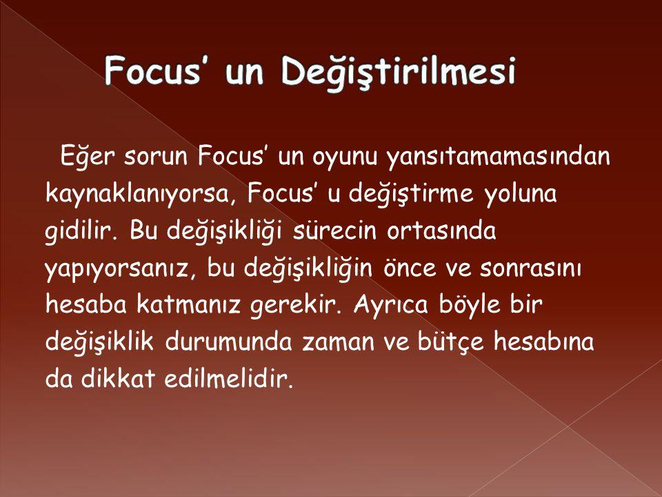 Eğer sorun Focus' un oyunu yansıtamamasından kaynaklanıyorsa, Focus' u değiştirme yoluna gidilir.
