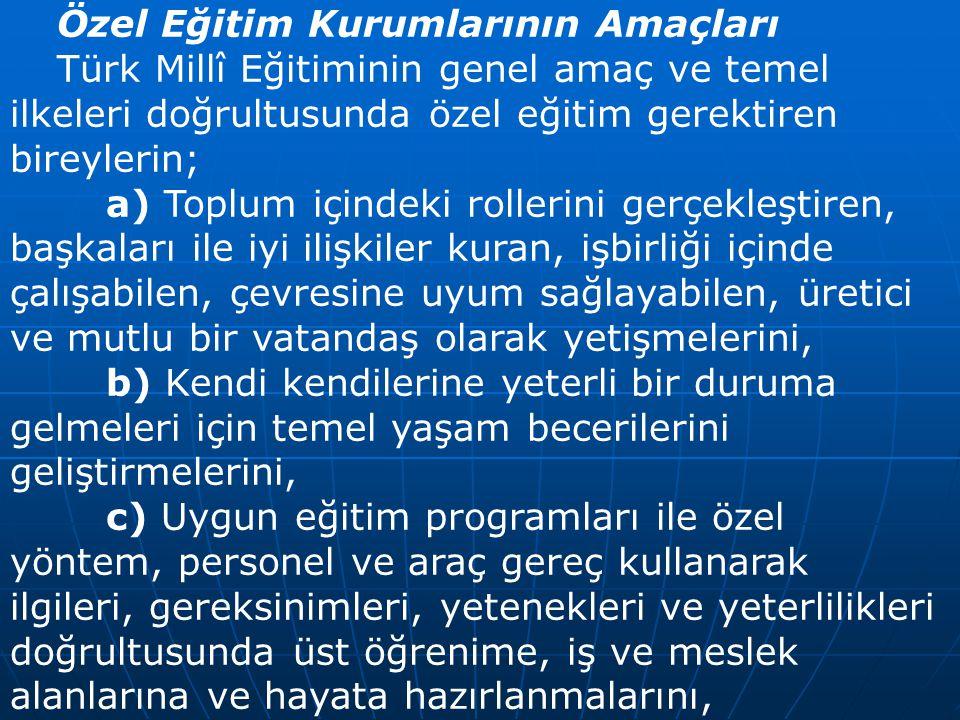 Özel Eğitim Kurumlarının Amaçları Türk Millî Eğitiminin genel amaç ve temel ilkeleri doğrultusunda özel eğitim gerektiren bireylerin; a) Toplum içinde