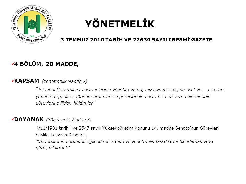 Geçmiş Şuan Gelecek YÖNETMELİK 3 TEMMUZ 2010 TARİH VE 27630 SAYILI RESMİ GAZETE 4 BÖLÜM, 20 MADDE, KAPSAM (Yönetmelik Madde 2) İstanbul Üniversitesi hastanelerinin yönetim ve organizasyonu, çalışma usul ve esasları, yönetim organları, yönetim organlarının görevleri ile hasta hizmeti veren birimlerinin görevlerine ilişkin hükümler DAYANAK (Yönetmelik Madde 3) 4/11/1981 tarihli ve 2547 sayılı Yükseköğretim Kanunu 14.