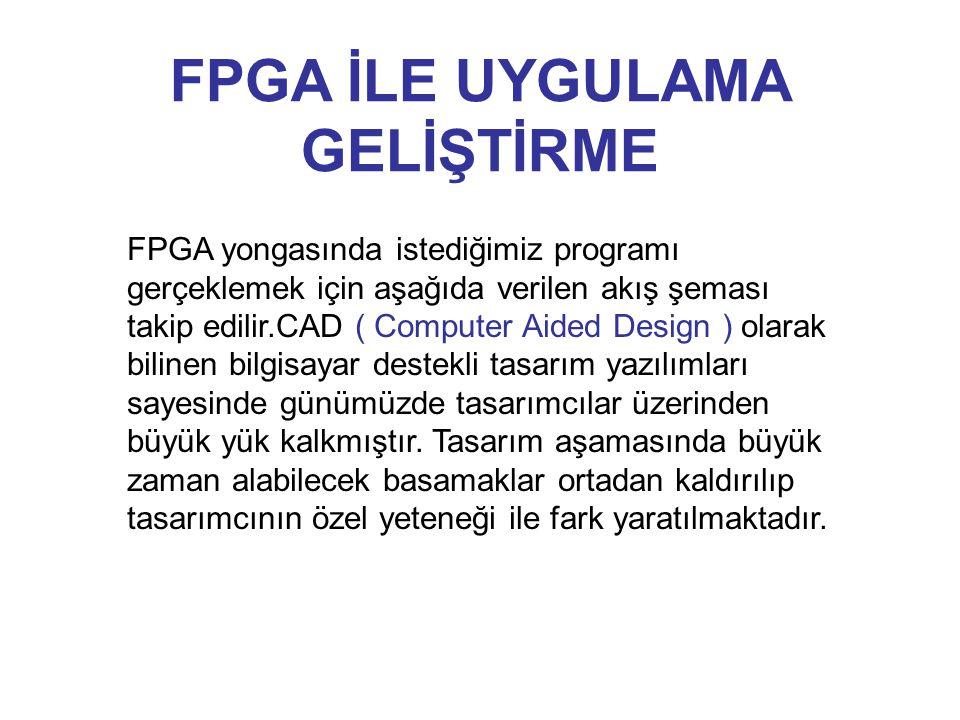 FPGA İLE UYGULAMA GELİŞTİRME FPGA yongasında istediğimiz programı gerçeklemek için aşağıda verilen akış şeması takip edilir.CAD ( Computer Aided Desig