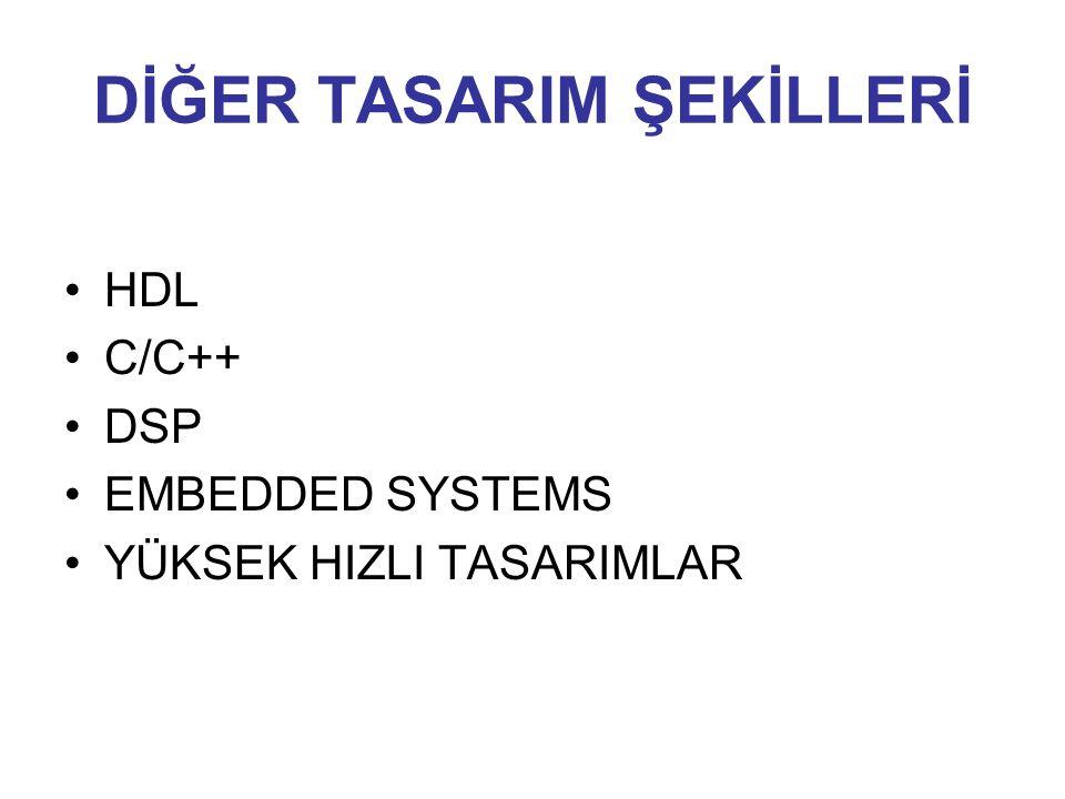 DİĞER TASARIM ŞEKİLLERİ HDL C/C++ DSP EMBEDDED SYSTEMS YÜKSEK HIZLI TASARIMLAR