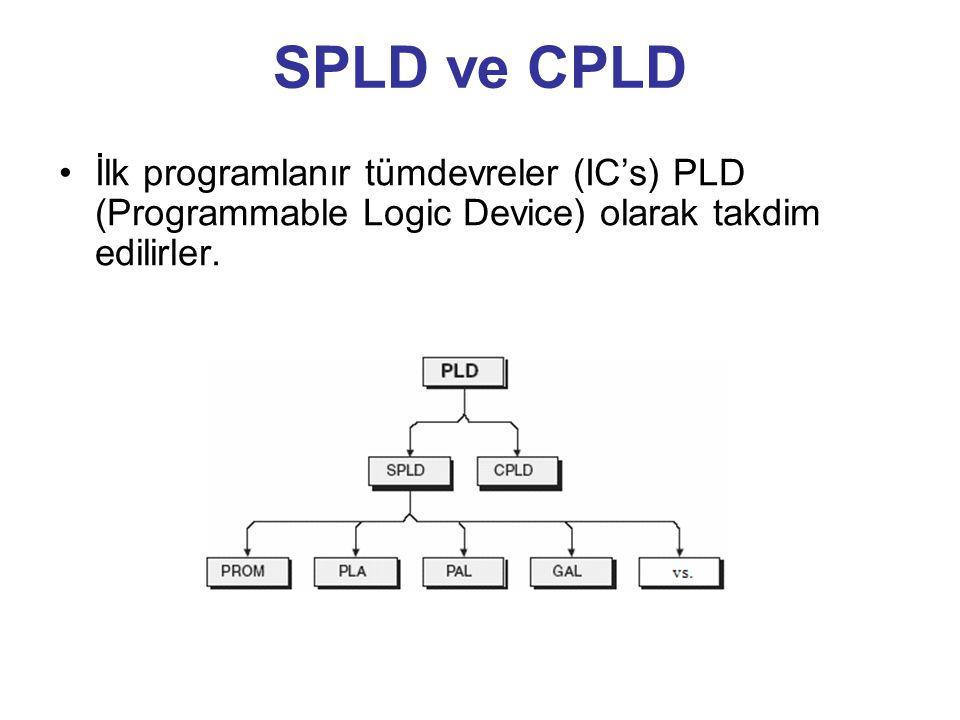 SPLD ve CPLD İlk programlanır tümdevreler (IC's) PLD (Programmable Logic Device) olarak takdim edilirler.